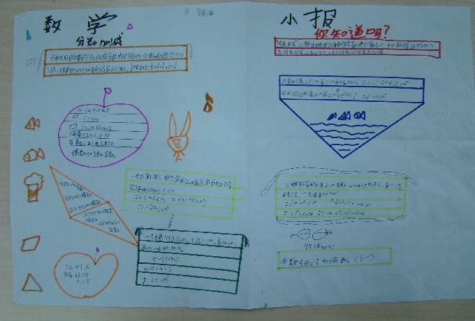 川大附小东山学校数学教研组开展 数学复习小报 的创办与交流活动